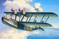 Картинка море, небо, облака, лодка, рисунок, корабли, арт, военные, самолёты, морской, разведчик, британская, немецкий, WW2, летающая, ...