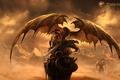 Картинка драконы, небо, горы, воин