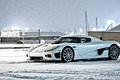 Картинка snow, снег, Кёнинсегг, зима, белый, white, здания, вид сбоку, Koenigsegg, небо, CCX, winter
