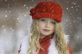Картинка настроение, славянская внешность, красивая, ребенок, лицо, красная, снег, блондинка, зима, дети, снегопад, шапочка, нежность, девочка, ...