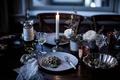 Картинка spaghetti, food, pasta, candle, wine