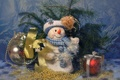 Картинка узор, игрушки, ель, мороз, снеговик
