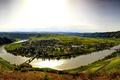 Картинка Писпорт, поля, гора, мосты, дома, Германия, городок, даль, река