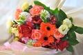 Картинка розы, букет, герберы, гиацинт, эустома, гиппеаструм