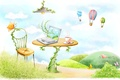 Картинка бабочки, воздушные шары, стол, рисунок, лампа, стул, кружка, ноутбук, лианы