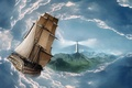 Картинка talasi, nebo, brod, planine, morem svetionik, oblaci