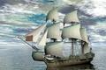 Картинка Корабль, Небо, Парусник, 3D Графика, фото, Море, Облака