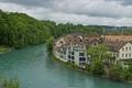 Картинка Швейцария, небо, дома, деревья, река, Берн