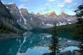 Картинка озеро, отражение, горы, небо, лес, деревья, облака