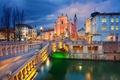 Картинка мост, церковь, дома, Любляна, Словения, огни, ночь, река