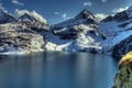 Картинка небо, вода, облака, снег, горы, озеро
