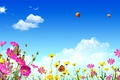 Картинка цветы, spring, свет, природа, блик, тепло, бабочка, summer, лето, облака, небо, весна, воздушные шары