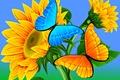 Картинка абстракция, бабочка, вектор, ярко, подцолнух