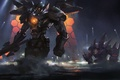 Картинка море, ночь, меч, Mech, робот, art